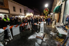Ice carving on Division Street, downtown Somerville